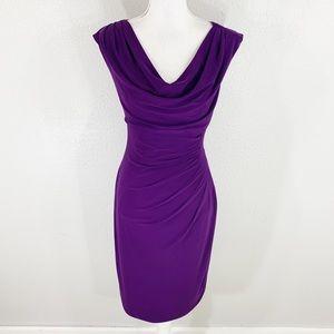 Ralph Lauren purple cowl neck jersey midi dress 8